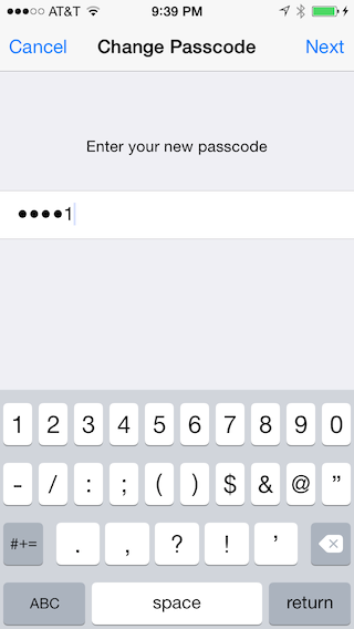 Setting a long numeric passcode